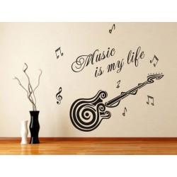 Muursticker Gitaar, Music...